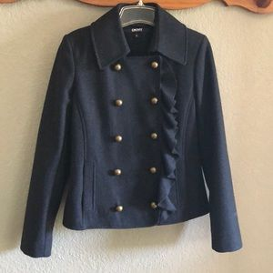 DKNY Sz 6 DarkGray WoolDouble-Breast ButtonPeacoat